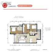 华熙528艺术村3室2厅2卫89平方米户型图