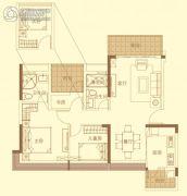招商金山谷3室2厅2卫98平方米户型图