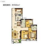 美的・花湾城3室2厅2卫100平方米户型图