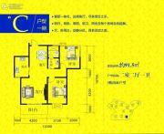 云溪谷2室2厅1卫91平方米户型图
