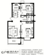 华诗雅地2室2厅1卫93平方米户型图