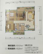 城市名庭3室2厅2卫101平方米户型图