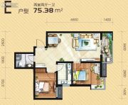 满堂悦MOMΛ2室2厅1卫75平方米户型图