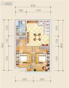 创意山2室2厅1卫57平方米户型图