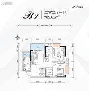 万福国际广场2室2厅1卫89平方米户型图