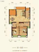 康田紫悦府2室2厅1卫78平方米户型图