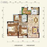 希望・玫瑰园3室2厅1卫91平方米户型图