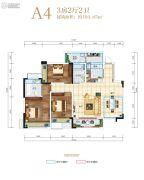 长虹天樾3室2厅2卫104平方米户型图