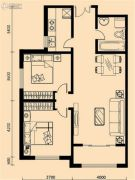 加莱印象2室2厅1卫107平方米户型图