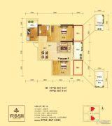 府河名居2室2厅1卫87平方米户型图