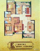 大通豪庭3室2厅2卫129--130平方米户型图