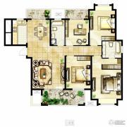 冠城大通棕榈湾4室2厅2卫163平方米户型图