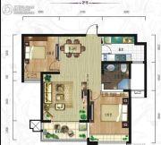紫韵东城2室2厅1卫90平方米户型图