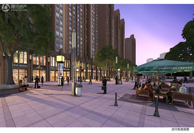 合鑫中央公园商业步行街透视图