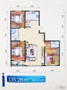 格林逸水苑三期3室2厅2卫135平方米户型图