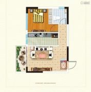 鹰城商贸中心1室1厅1卫51平方米户型图