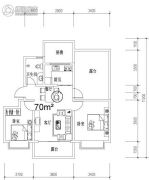 钓鱼一�院2室2厅1卫70平方米户型图