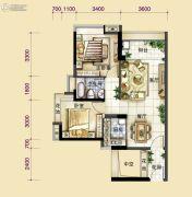 中大城2室2厅1卫76平方米户型图