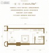 光谷one391室1厅1卫44平方米户型图