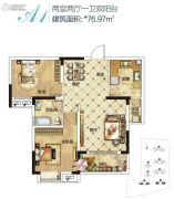 中国核建锦城2室2厅1卫76平方米户型图