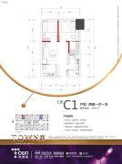 塘朗城TOWN寓2室1厅1卫61平方米户型图