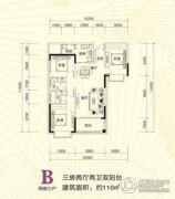 青龙湾田园国际新区3室2厅2卫110平方米户型图
