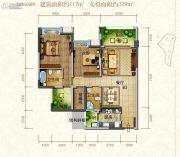 东江首府2室2厅2卫117平方米户型图