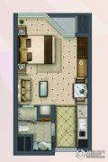 盐仓新天地1室2厅1卫43平方米户型图