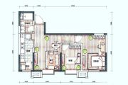 新梅江锦秀里2室2厅1卫85平方米户型图