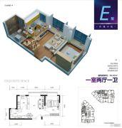 上力理想城1室2厅1卫56平方米户型图