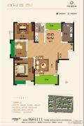 奕铭・阳光城3室2厅1卫117平方米户型图