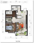 百岁万汇城2室2厅1卫78平方米户型图