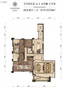 富国高银4室2厅3卫0平方米户型图