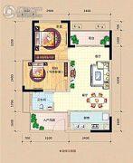 龙光阳光海岸2室2厅1卫59平方米户型图