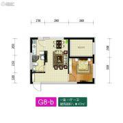 新加坡花园1室1厅1卫47平方米户型图