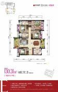 时代倾城双生花4室2厅2卫130平方米户型图