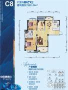武汉中国健康谷3室2厅1卫103平方米户型图