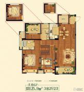 祥生悦山湖3室2厅2卫125平方米户型图