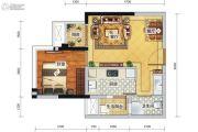 瑞升望江橡树林1室2厅1卫45平方米户型图