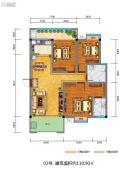 百江御城・龙脉3室2厅2卫110平方米户型图