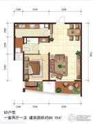 金梦海湾1号1室2厅1卫88平方米户型图