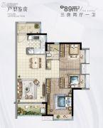 时代香海彼岸(南沙)3室2厅1卫0平方米户型图