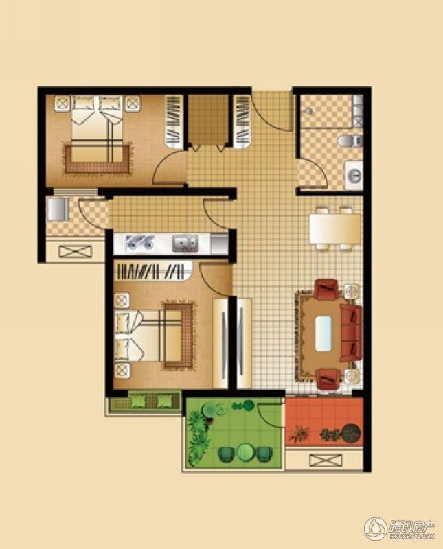 安联生态城A户型2-1 2室2厅1卫 83㎡
