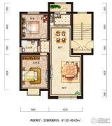 恒威滨江国际2室2厅1卫87--89平方米户型图