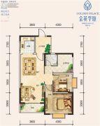 城投金花华庭2室2厅1卫101平方米户型图