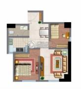文化空间2室1厅1卫80平方米户型图