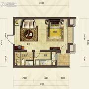 华发首府1室1厅1卫53平方米户型图