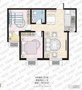 家合园二期2室2厅1卫74平方米户型图
