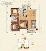 阳光新城3室2厅2卫104平方米户型图