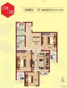 祝福红城3室2厅1卫121平方米户型图